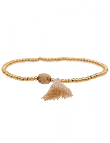 Leslii Damenarmband Bommel aus Metalllegierung mit Textil Tassel Länge dehnbar in Gold Beige
