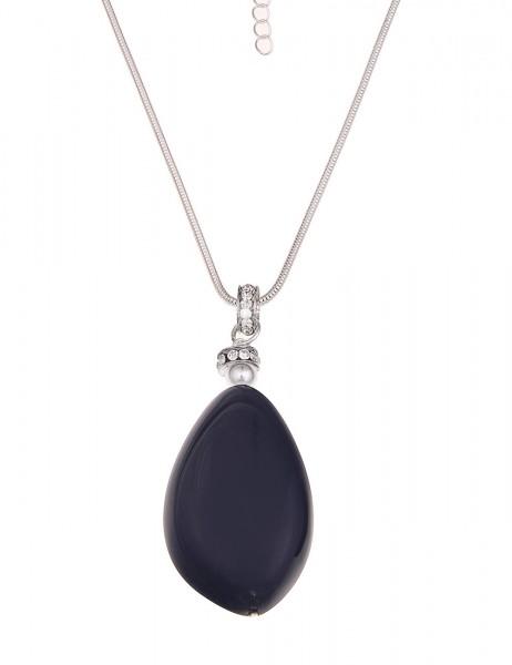 -70% SALE Leslii Halskette Glitzer Blue Silber Blau | lange Damen-Kette Mode-Schmuck | 86cm + Verlän