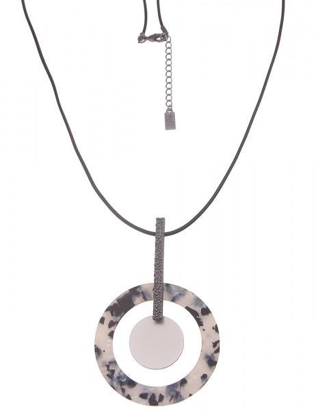 Leslii Damen-Kette Muster-Ring XXL Ring-Anhänger schwarze Textil-Kette lange Modeschmuck-Kette in Sc
