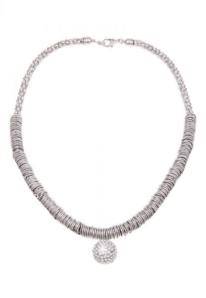 Leslii Damenkette Statement Glitzer Kugel Collier Halskette kurze Modeschmuck-Kette Länge 49cm in Si
