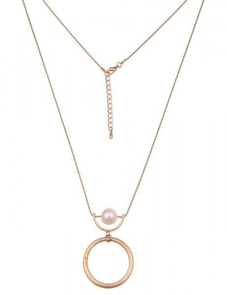 Leslii Damen-Kette Ring Perle Gold Weiß Metalllegierung Matt 80cm + Verlängerung 220217040