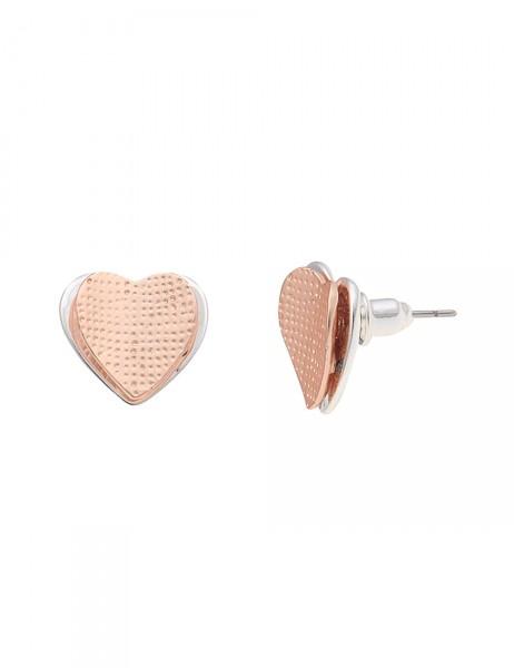 Leslii Damen-Ohrringe Ohrstecker Romance Herz Silber Rosé Metalllegierung 1,4cm 230115683