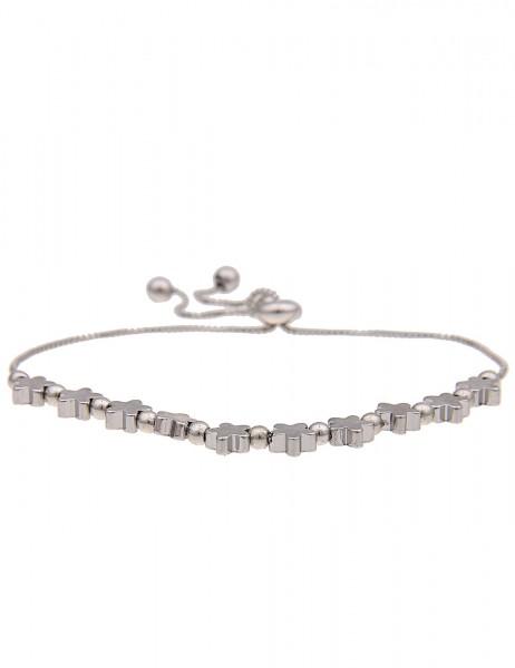 Leslii Damenarmband Glanz Sterne aus Metalllegierung Länge verstellbar in Silber Hochglanz