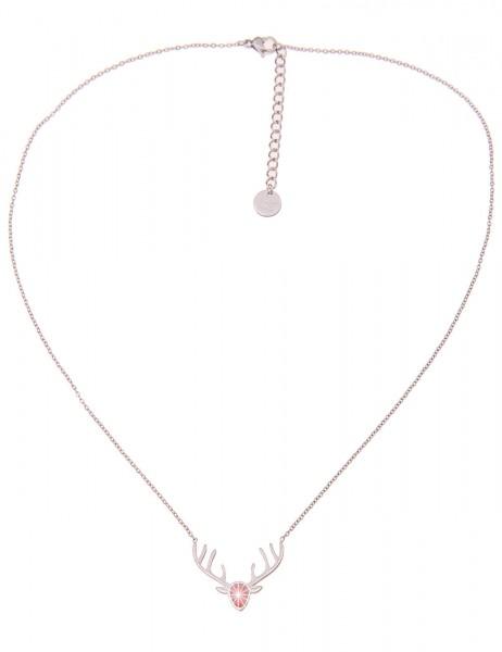 Leslii Damenkette Tracht Collier Hirsch-Anhänger Oktoberfest Wiesn-Halskette Modeschmuck-Kette Länge