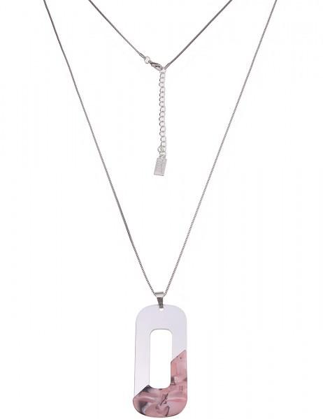 Leslii Damenkette Modern Art aus Metalllegierung mit Kunststoff Länge 84cm in Silber Rosa