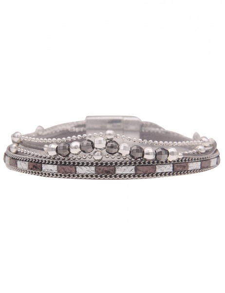 Leslii Damen-Armband Metallic veganes Leder-Armband silbernes Modeschmuck-Armband Armschmuck Magnet