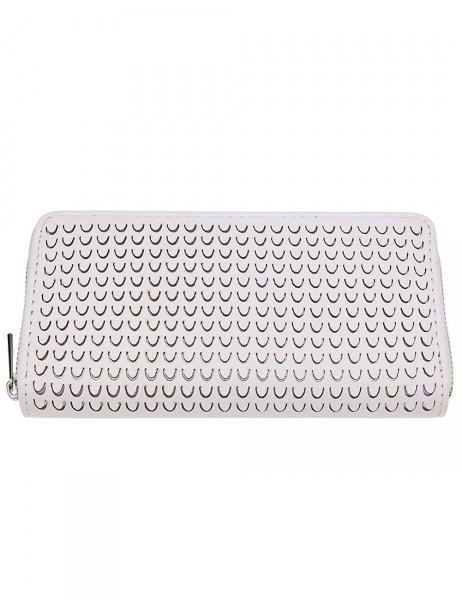 -50% SALE Leslii Damen Geldbeutel / Clutch Modern Style Weiß Lederimitat 19cm x 10cm 400215945
