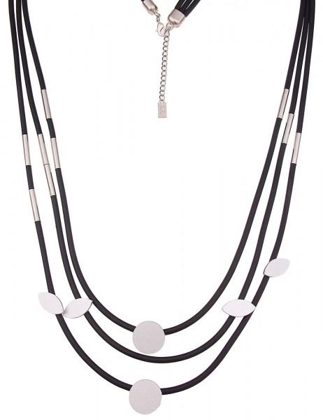 Leslii Damenkette Statement Formen aus Gummi mit Metalllegierung Länge 96cm in Schwarz Silber