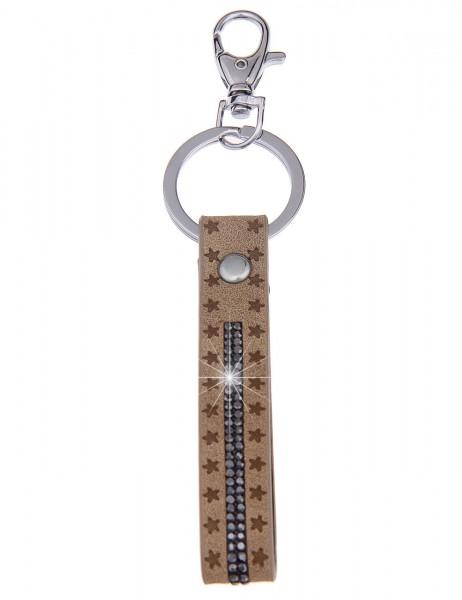 -70% SALE Leslii Schlüssel-Anhänger Stern-Schlaufe Beige | Damen-Accessoires Mode-Schmuck | Länge: 1