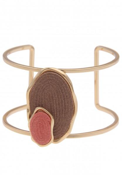 Leslii Damen-Armband Birte XXL-Armreif breites Armband goldenes Modeschmuck-Armband veganes Leder-Ar