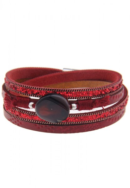 -50% SALE Leslii Pailletten Rot | Trendiges Wickelarmband | Damen Mode-Schmuck | 40cm