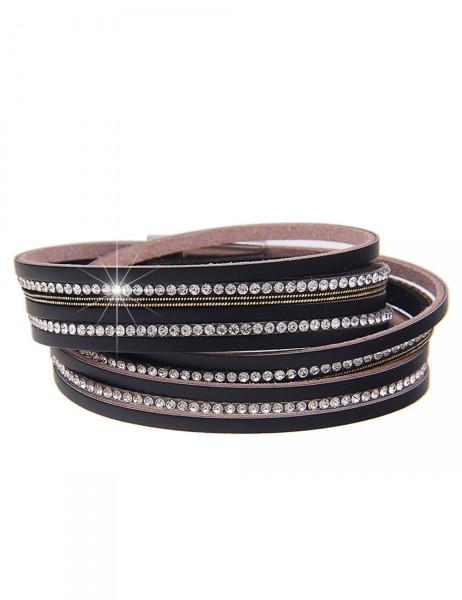 Leslii Damen Wickel-Armband Glamour-Look Lederimitat Strass 38cm Magnetverschluss 260216091