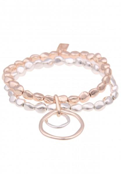 Leslii Damenarmband Bicolor Glanz Ringe Statement Armschmuck silbernes Modeschmuck-Armband Rosé Silb