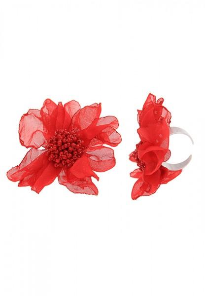 -50% SALE Leslii Damenring Statement Stoff Blüte aus Textil mit Metalllegierung Größe verstellbar in