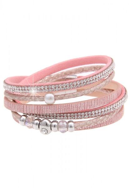 Leslii Glitzersteine Rosa | Trendiges Wickelarmband | Damen Mode-Schmuck | 40cm