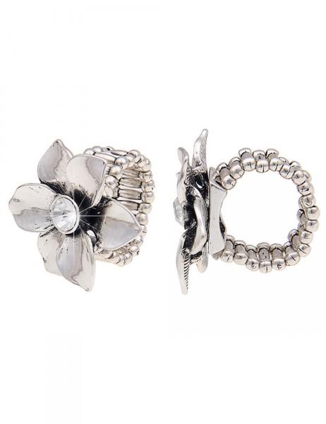 -50% SALE Leslii Damen-Ring Glanz-Blume Silber Metalllegierung Strass Größe dehnbar 250115920