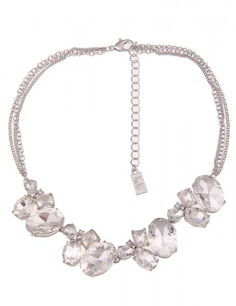 Leslii Damenkette Statement Glitzer aus Metalllegierung mit Glasstein Länge 40cm in Silber Hochglanz