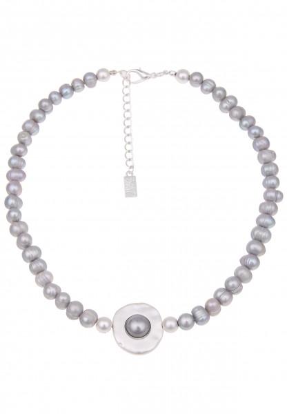 -50% SALE Kurze Halskette Süßwasserperlen Agate Silber Grau