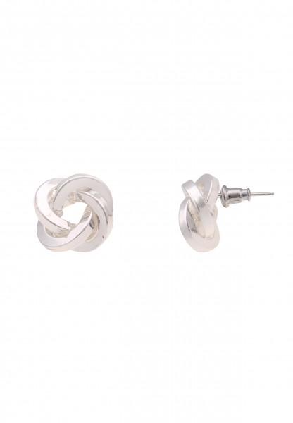 Leslii Damen-Ohrringe Ohrstecker Knoten-Ohrringe Knoten-Schmuck silberne Modeschmuck-Ohrringe Ohrsch