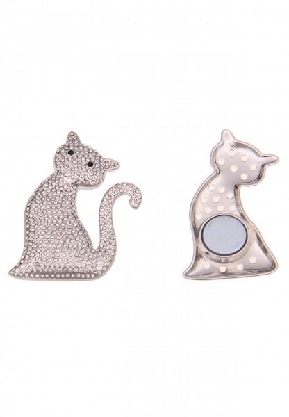 Leslii Damen-Pin Magnet-Anstecker Glitzer Katze Silber Metalllegierung Strass 6,2cm 270116867