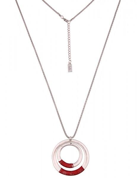 Leslii Damenkette Faden Ringe aus Metalllegierung mit Textil Länge 85cm in Silber Rot