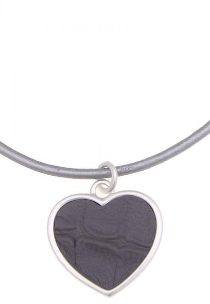 -70% SALE Leslii Halskette Lederherz Silber Grau | kurze Damen-Kette Mode-Schmuck | 42cm + Verlänger