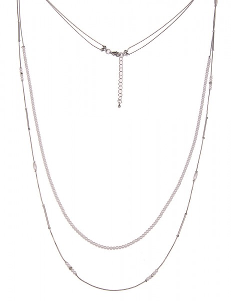 Leslii Halskette Perlen Mix Silber Weiß | lange Damen-Kette Mode-Schmuck | 92cm + Verlängerung