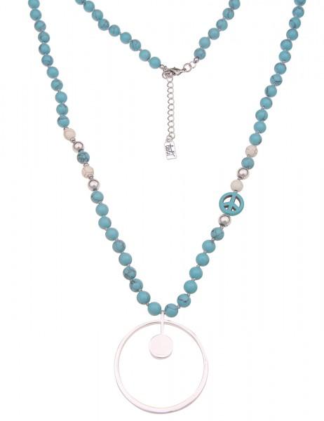 Leslii Damen-Kette Peace-Zeichen Naturstein Ring-Anhänger lange Halskette blaue Modeschmuck-Kette in