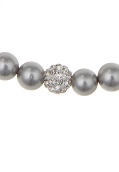 Leslii Damenkette Perlencollier aus Muschelkern-Perlen Länge 43cm in Grau