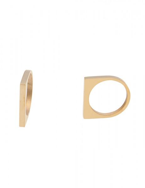 Leslii 4teen Damenring Stripe aus Metalllegierung Größe 16mm, 17mm oder 18mm in Gold