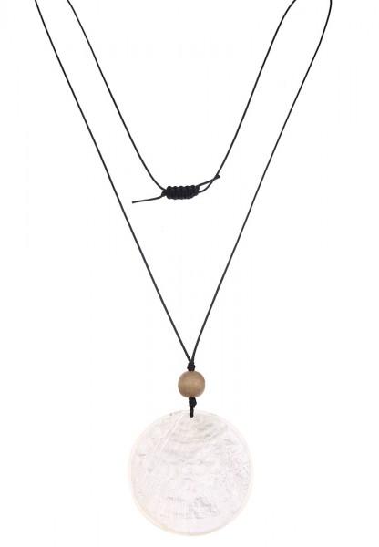 -50% SALE Leslii Halskette Capizmuschel Weiß Schwarz   lange Damen-Kette Mode-Schmuck   100cm verste