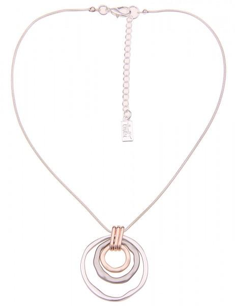 Leslii Damenkette Tricolor-Kette Ring-Anhänger Collier Halskette Modeschmuck-Kette Länge 45cm in Sil