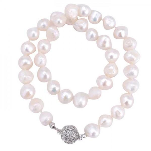 Perlenkette Bling weiß - 01/silber