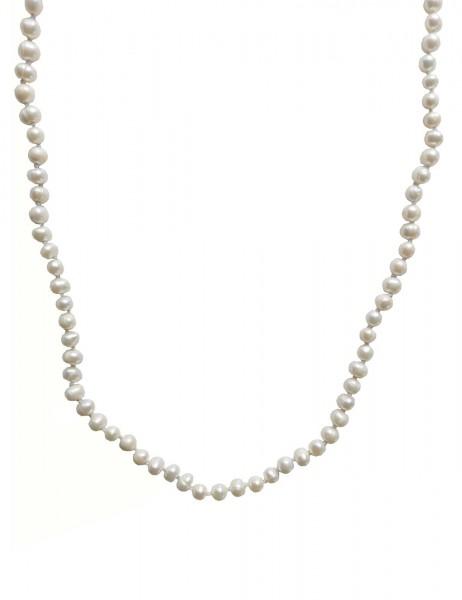 Leslii Damenkette weiße Perlen-Kette XXL Wickel-Kette Süßwasser-Zuchtperlen lange Halskette weiße Mo