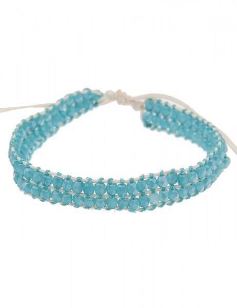 Leslii Damenarmband Western Style aus Textil mit Glasperlen Größe 19cm verstellbar in Beige Blau