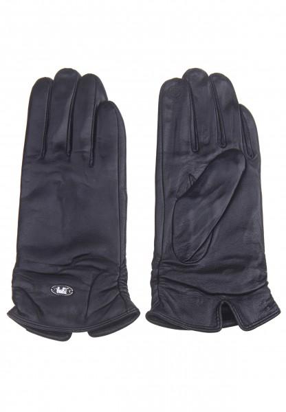 Leslii Damen-Handschuhe Fashion Klassik vegane Leder-Handschuhe schwarze Winter-Handschuhe Samt-Futt