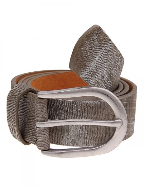 -50% SALE Leslii Damen-Gürtel Metallic Streifen Braun Silber 100% Polyurethan Breite 3,3cm 500115780