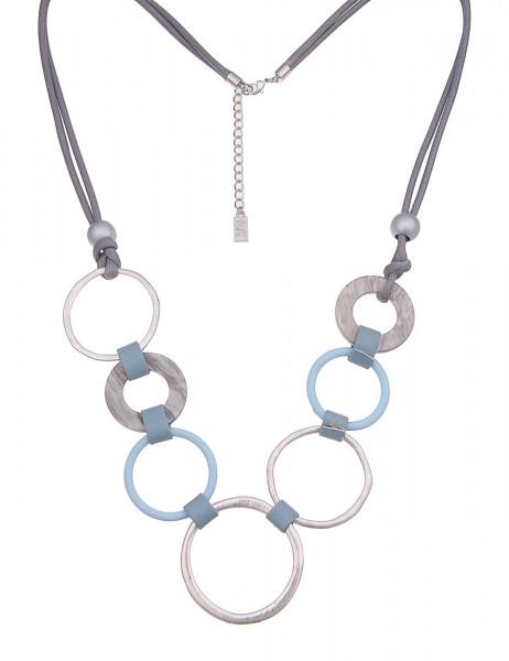 Leslii Damenkette Ring Mix aus Metalllegierung mit Kunststoff Länge 88cm in Silber Blau Grau