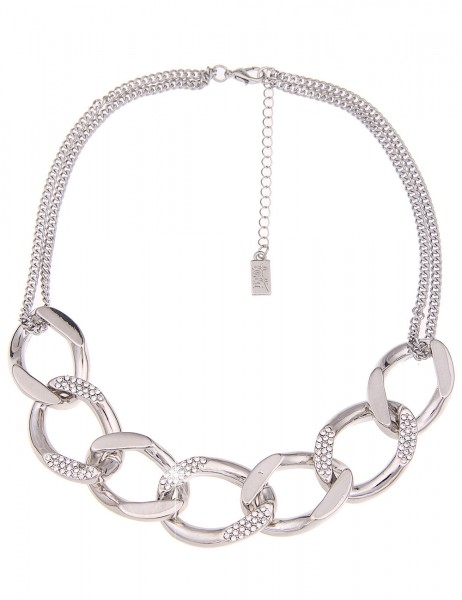 -70% SALE Leslii Halskette Strass Elemente Silber | kurze Damen-Kette Mode-Schmuck | 46cm + Verlänge