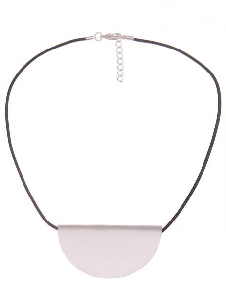 Leslii Damen-Kette Matt Scheibe weiches Stoff-Band kurze Halskette schwarze Modeschmuck-Kette in Sil