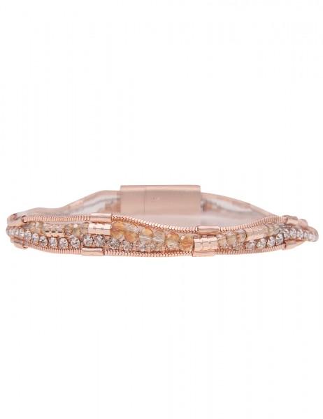 Leslii Damen-Armband Glitzer weißes Strass-Armband mehrfaches Modeschmuck-Armband grauer Armschmuck