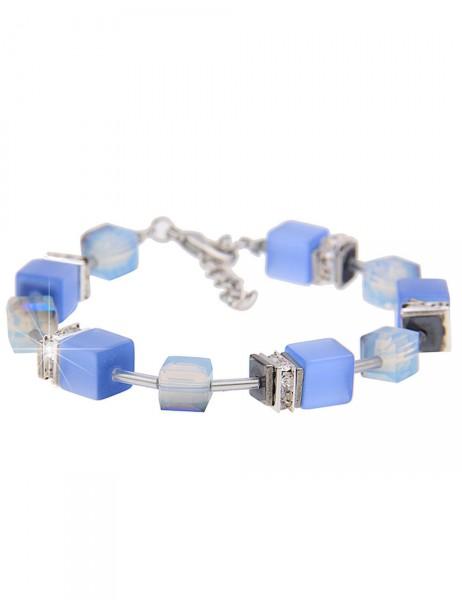 Leslii Damen-Armband Premium Armband Glitzer-Würfel Strass-Armband Modeschmuck Blau