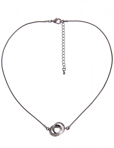 Leslii Damen-Kette Ring Duett Schwarz Grau Metalllegierung Strass 45cm + Verlängerung 210116711