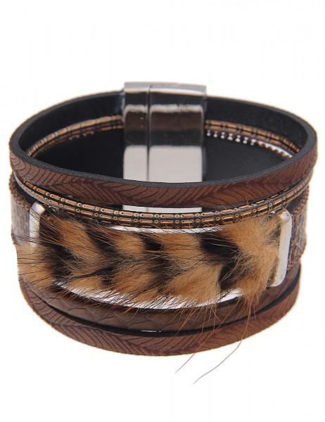 -70% SALE Leslii Armband Wild Tiger Braun | Damen-Armband Mode-Schmuck | Länge: 19cm Magnet-Verschlu