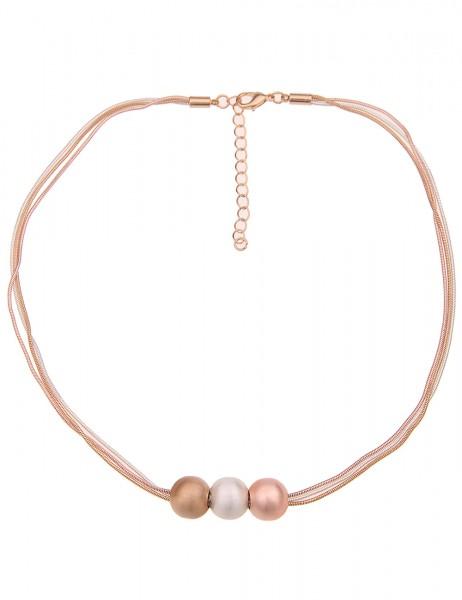 Leslii Damenkette Tricolor Kugeln Collier Schlangen-Kette kurze Halskette silberne Modeschmuck-Kette