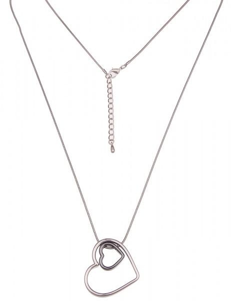 Leslii Damen-Kette Glanz-Herz Silber Schwarz Metalllegierung Hochglanz 82cm + Verlängerung 220116923
