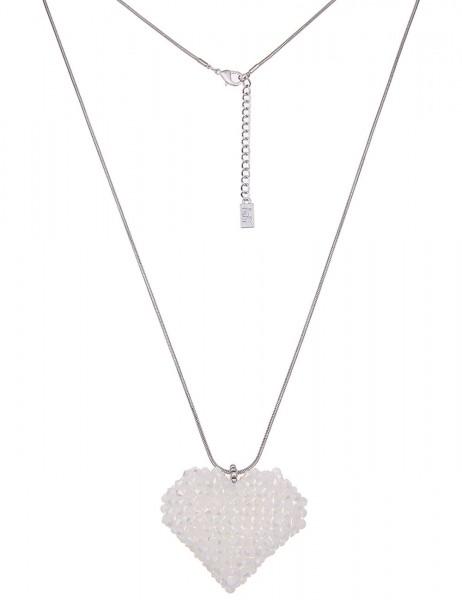 -50% SALE Leslii Damen-Kette Glasperlen-Herz Silber Weiß Metalllegierung 84cm + Verlängerung 2201158
