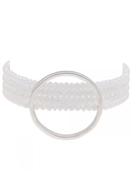 -50% SALE Leslii Premium Quality Damen Wickel-Armband Ring Weiß Silber Glasperlen Metalllegierung 73