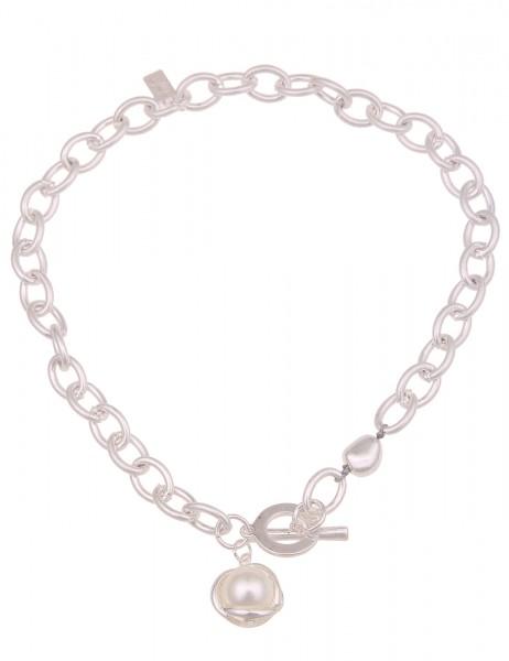 Leslii kurze Collier-Damen-Kette mit Perlen-Anhänger in Silber/Weiß