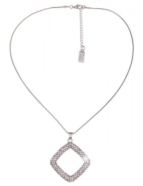 Leslii Halskette Funkel-Quadrat Silber | kurze Damen-Kette Mode-Schmuck | 44cm + Verlängerung